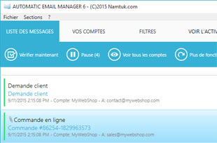 interface principale pour Automatic Email Manager